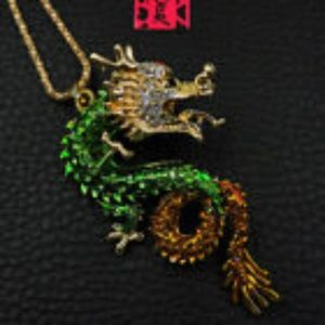 Green Enamel Dragon Necklace